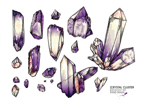 Hand drawn crystal cluster. Vector mineral illustration. Amethyst or quartz stone. Isolated natural gem. Geology set. Use for decoration, flyer, banner, halloween, wedding, witch stuff.