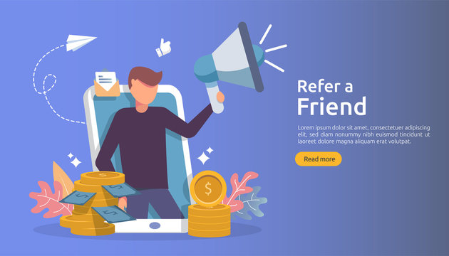 affiliate marketing concept. refer a friend strategy. people character shout megaphone sharing referral business partnership and earn money. template for web landing page, banner, poster, print media
