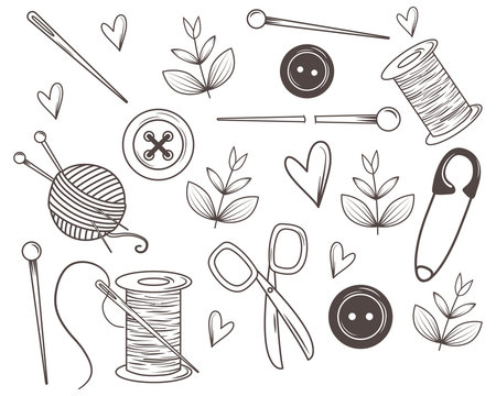 Isolated tailor shop icon set design
