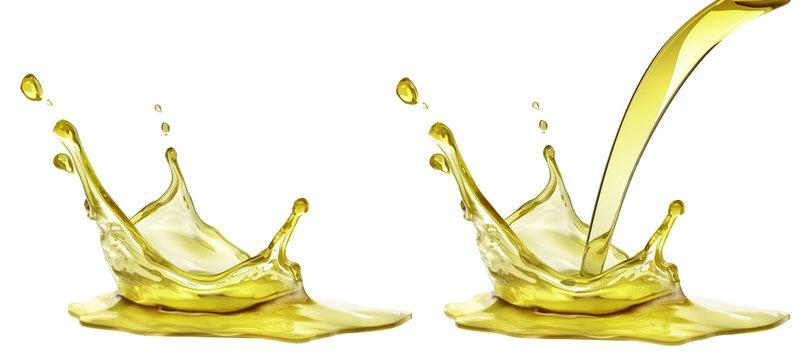 Olive or engine oil splash, cosmetic serum liquid isolated on white background. 3d illustration