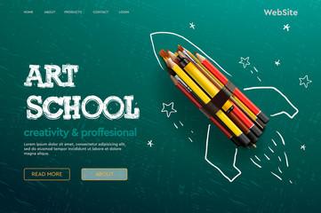 Web page design template for Art School, studio, course, class, education. Modern design vector illustration concept for website and mobile website development.