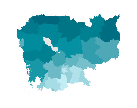 Vector isolated illustration of simplified administrative map of Cambodia. Borders of the regions. Colorful blue khaki silhouettes
