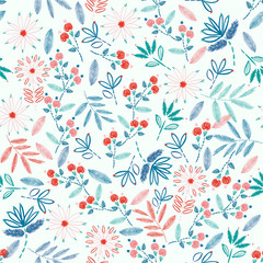 Colorful Embroidery Seamless pattern with liberty small  flowers decoration vector illustration.  hand drawn elements. design for Home decor,fashion,fabric,wrapping ,web,wallpaper and all prints
