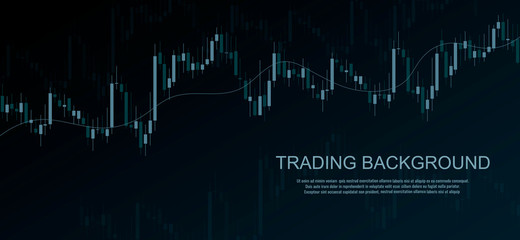 Dark business background with candlesticks chart. Financial market trade vector banner. Forex trading graph.