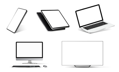 Nice mockups collection realistic devices. Smartphone, tablet, laptop, PC and TV. 3D realistic models of devices from different angles. Mockup gadgets set. Vector template for you presentation.