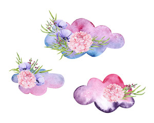 Watercolor clouds with bouquet. Colorful illustration isolated on white. Hand painted elements with flowers perfect for children's wallpaper, fabric textile, vintage design, wedding invitation
