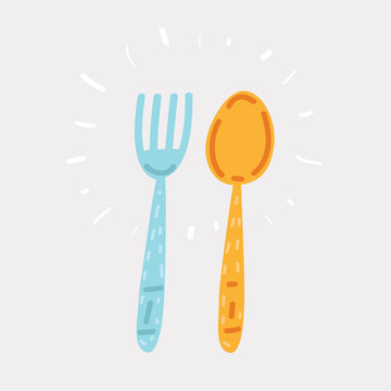 Fork and spoon hand drawing.