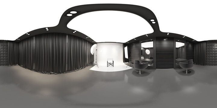 Photo studio with modern interior panoramic,Panorama of photo studio,Full 360 spherical panorama view of photo studio interior.photo studio interior(3D Rendering)