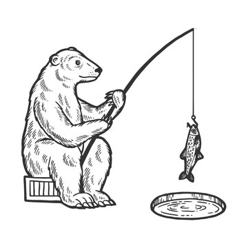 Polar Bear fishing with fishing rod in hole in ice sketch engraving vector illustration. Scratch board style imitation. Hand drawn image.