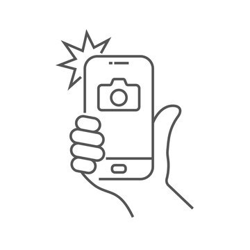 Photo on smartphone with flash, hand is holding smartphone and doing photo. Camera viewfinder, hand and flash. Editable Stroke. EPS 10.