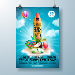 Summer Beach Party Flyer Design with flower, beach ball and surf board. Vector Summer nature floral elements, air balloon, tropical plants and typography letter on blue cloudy sky background. Design