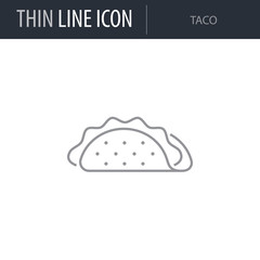 Symbol of Taco. Thin line Icon of Food. Stroke Pictogram Graphic for Web Design. Quality Outline Vector Symbol Concept. Premium Mono Linear Beautiful Plain Laconic Logo
