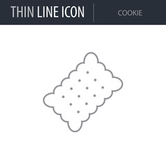Symbol of Cookie. Thin line Icon of Food. Stroke Pictogram Graphic for Web Design. Quality Outline Vector Symbol Concept. Premium Mono Linear Beautiful Plain Laconic Logo
