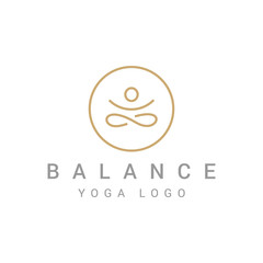 Abstract Yoga Logo template design. Human pose icon.