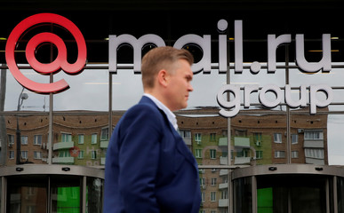 The logo of Russian Internet company Mail.ru Group is seen on the facade of its headquarters in Moscow