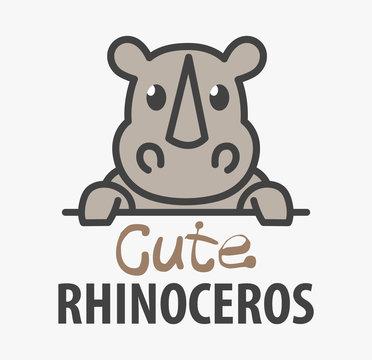 Logo template with cute rhinoceros. Vector logo design rhino template for zoo, veterinary clinics. Cartoon african animal logo illustration.