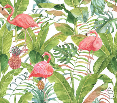 Hand drawn watercolor seamless pattern with pink flamingo, pineapple and exotic plants. Repeat background illustration