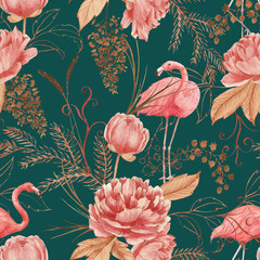Hand drawn watercolor seamless pattern with pink flamingo, peony and decorative plants. Repeat background illustration