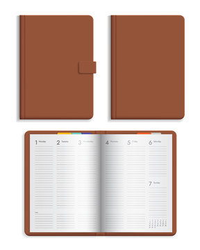 Set of open and closed leather diary with calendar pages. Hard cover brown color isolated on white background, vector