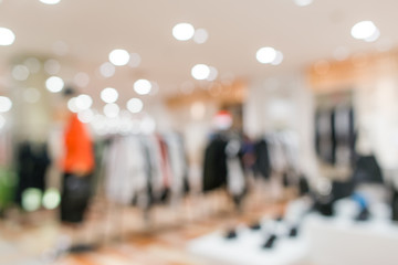 Blurred showcases fashion boutique Clothing store in a modern shopping mall. Cloth and acessorie modern shop blur background.