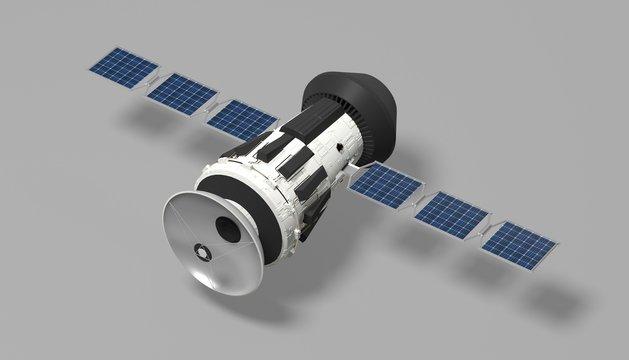 Satellite sur fond gris 3D