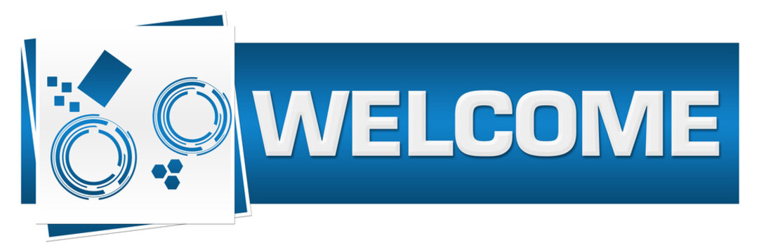 Welcome Blue Grey Technology Block