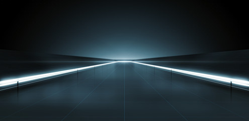 Elegant futuristic light and reflection with grid line background. 3D rendering. Fototapete
