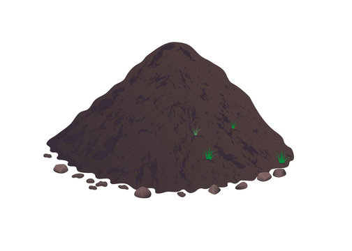 Heap of earth, heap of soil. Vector illustration on white background