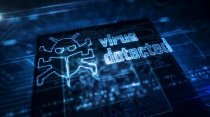 CPU on board with virus detected hologram - fototapety na wymiar