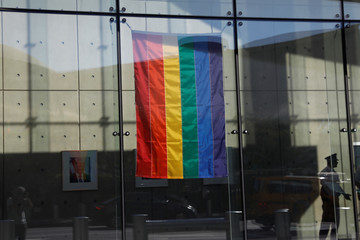 The rainbow flag, commonly known as the gay pride flag or LGBT pride flag, is seen hanging in the lobby of the United States Mission to the United Nations in New York