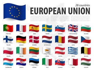 Fototapeta European union flag ( EU ) and membership on europe map background . Waving flag design . Vector obraz