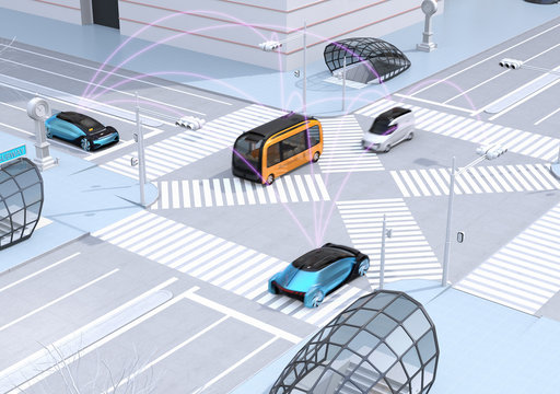Traffic in modern city intersection. Self driving sedan, delivery van and bus connected each other with pink curve. Connected cars concept. 3D rendering image.