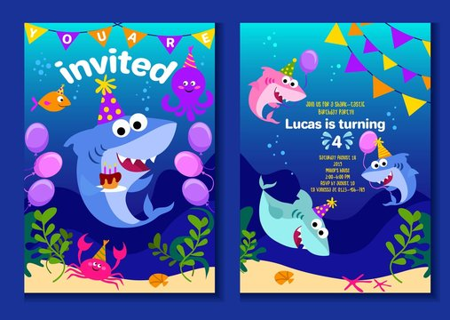 Baby shark party invitation cards. Happy Birthday greeting card in cartoon style with under the sea world animals shark, octopus, balloons etc. Colorful kids party poster or invitation template.