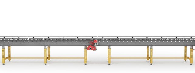 Conveyor line on a white background. 3d illustration