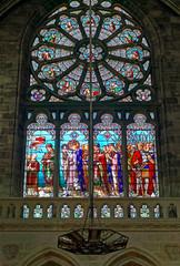 Vitrail Saint-Louis partant en Croisade à Bordeaux