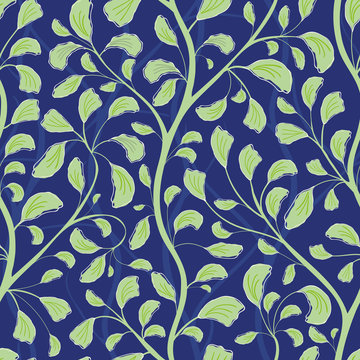 Beautiful flowing green hand drawn foliage design. Seamless vector pattern on textured midnight blue background. Great for wellbeing, cosmetic, food products, summer, packaging,stationery, home decor