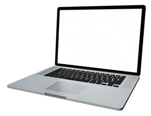 laptop with copy space on empty screen, isolated on white background with clipping path, high resolution files
