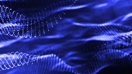 Glow particles are in air as science fiction of microcosm or macro world or sci-fi. 3d rendering of abstract blue composition with depth of field and glowing particles in dark with bokeh effects. 17