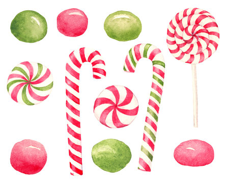 Watercolor hand drawn set with christmas red and green candies and lollipops isolated on white background