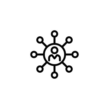 Abilities line icon. Person in circle, core, network. Skills concept. Vector illustration can be used for topics like competencies, multitasking, leadership