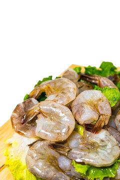 Large Raw Shrimp Isolated on White background. Selective focus.