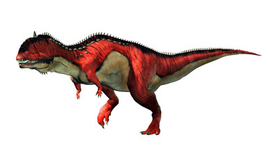 A red and white Rajasaurus with black stripes on a white background. Rajasaurus was an abelisaurid theropod dinosaur of the Late Cretaceous in India. 3D Rendering Fotoväggar