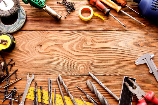 tools male workplace background texture dark wood