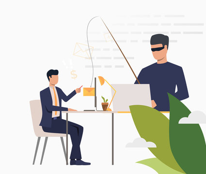 Scammer hacking into corporate email server. Hacker holding fishing tackle with hooked newsletter of office worker. Cybercrime concept. Vector illustration can be used for hacker attack or fraud