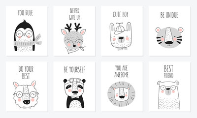 Vector collection of cards cute hand drawn animals and slogan