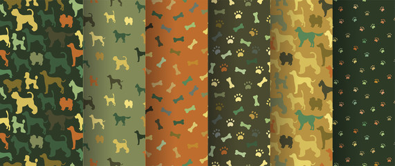 Set of seamless patterns with cartoon dogs