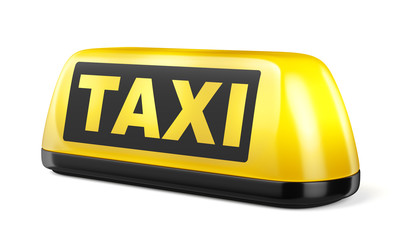 Yellow taxi sign isolated on white background Fototapete