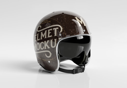 Motorcycle Helmet Mockup Isolated on White