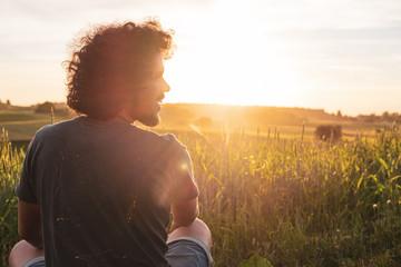 Curly hair smiling man