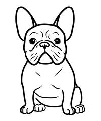 French bulldog black and white hand drawn cartoon portrait vector illustration. Funny french bulldog puppy sitting and looking forward. Dogs, pets themed design element, icon, logo, coloring book page